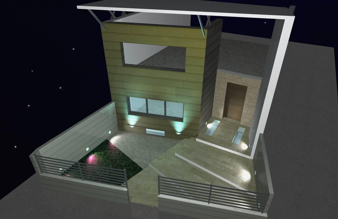 facciata, variante, vista notturna