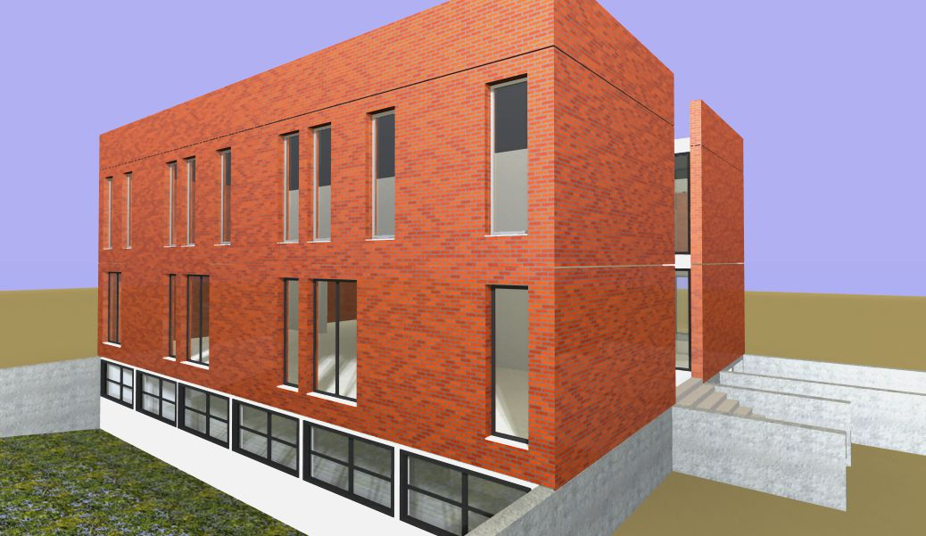 facciata laterale uffici e laboratori