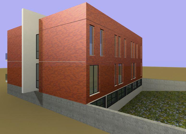 facciata posteriore - laterale uffici e laboratori