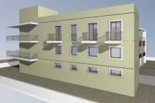 facciata laterale - vano scala, residenza e uffici