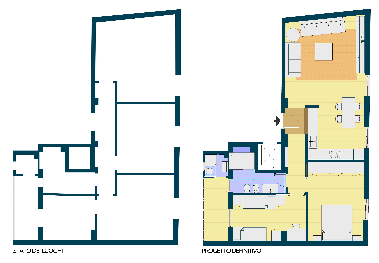 Appartamento con open space architetto facile for Foto di cucina e soggiorno a pianta aperta