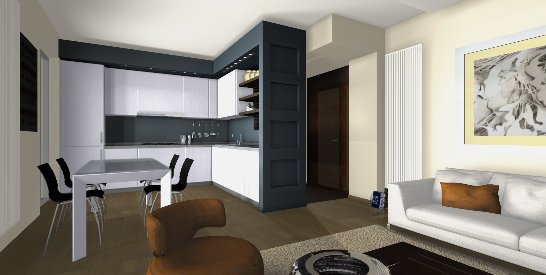 Appartamento con open space architetto facile for Zona giorno design